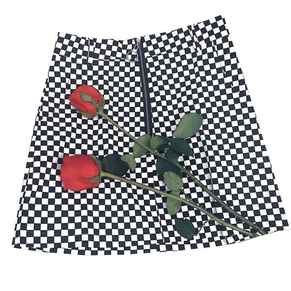 New Casual Summer Women Japanese Style Zipper Ring A-line High Waist Mini Skirts Female Black White Checkerboard Plaid Skirts