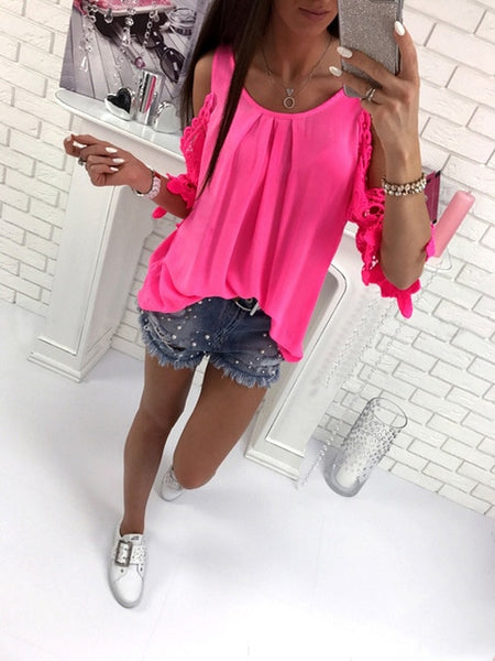 New Fashion Casual Women T-shirts O-Neck Patchwork Lace Short Sleeve Shirt Plus Size Solid Color Loose Women Clothes Female Tops