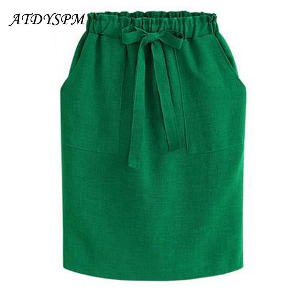 New Fashion Vintage Bow Midi Skirts Women Elegant Casual Skirt Female A line Elastic Waist Plus Size 3XL Office Cotton Skirts