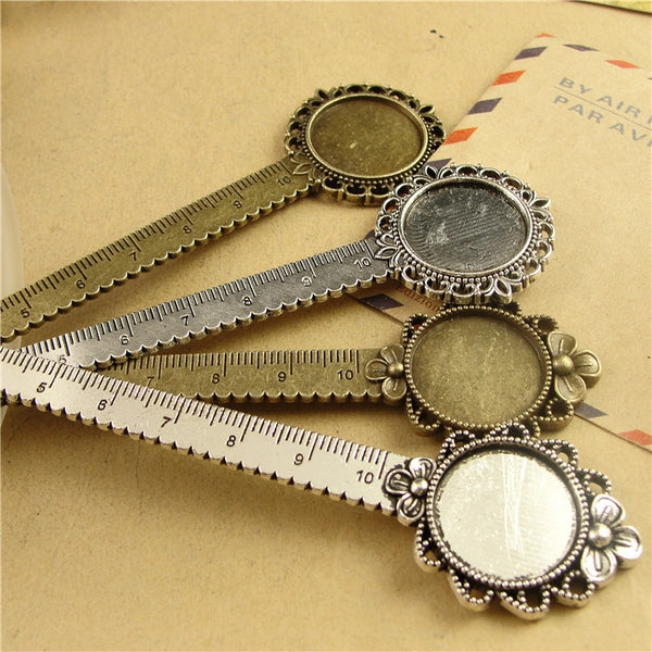New Flower Bookmark with Ruler Fit Inner 20 mm Cabochon Base DIY Craft Metal Book Reading Bookmarks Stationery