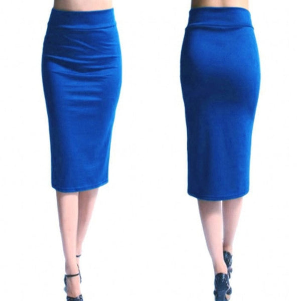 New Ladies Office Stretch Bodycon Midi Skirt Women Pencil Skirt Female High Waist Mid-Calf Pencil Skirt Puls Size XL Jupe Femme