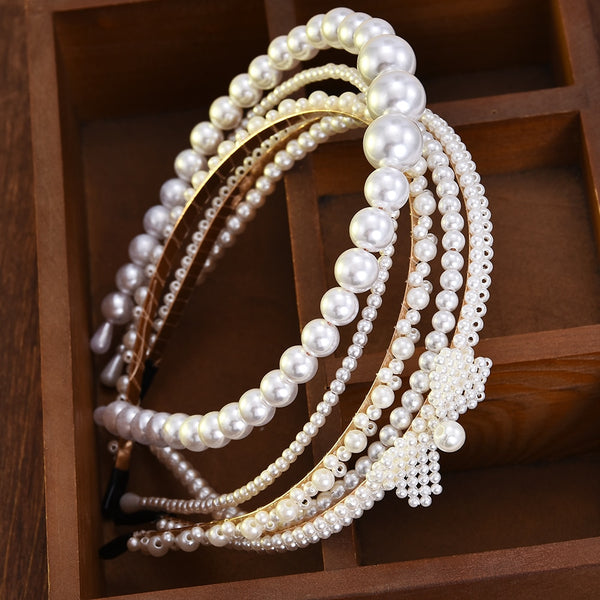 New Luxury Big Pearl Headband Women Bow Sunflower Hoops Girls Hair Accessories Fashion Jewelry accesorios para el cabello mujer