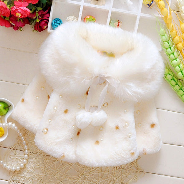 New Style Baby Toddler Infant Girls Clothes Cute Fleece Fur  Winter Warm Coat Outerwear Cloak Jacket Kids Cute Coat Clothes