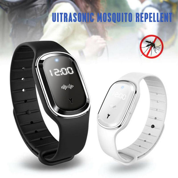 New Ultrasonic Mosquito Repellent Bracelet With LED Time Display Smart Wristband Anti Insect Pest Smrat Wearable Devices Adult