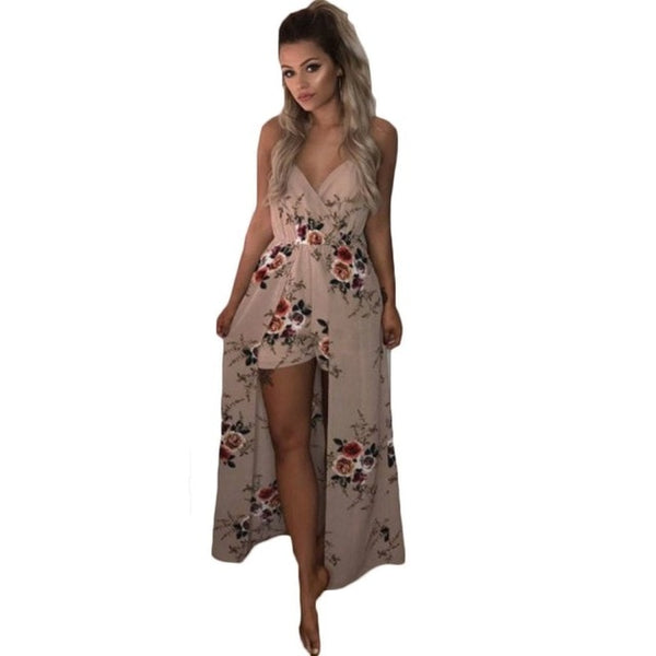 New Women Sleeveless Spaghetti Strap V-neck Floral Print Playsuit High Waist Split Loose Causal Jumpsuit Asymmetrical Skirt Hot
