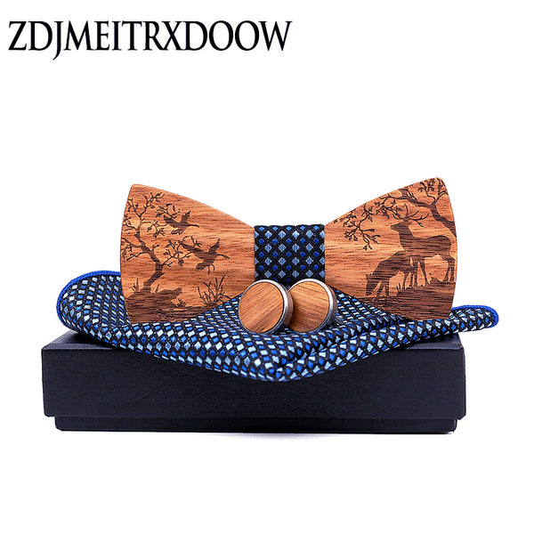 New arrival Wood Bowtie+Handkerchief+Cufflinks Sets Marriage Groom Wooden Bow Tie Bowknots Wedding Christmas elk Neck Ties