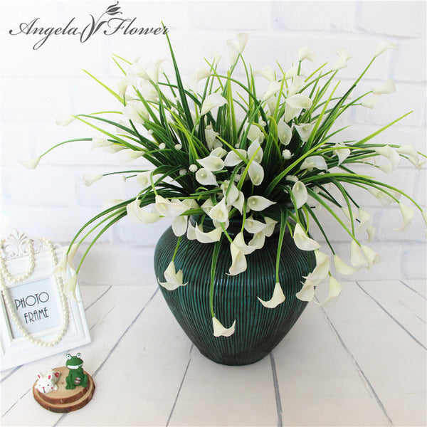 New beautiful 25 heads/bouquet mini artificial calla with leaf fake plastic lily Aquatic plants home room Christmas decor flower