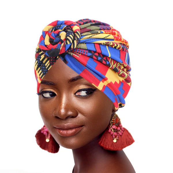 New fashion Women African pattern flower turban Muslim Turban  headscarf headwrap Ladies Chemo Cap Bandanas Hair Accessories