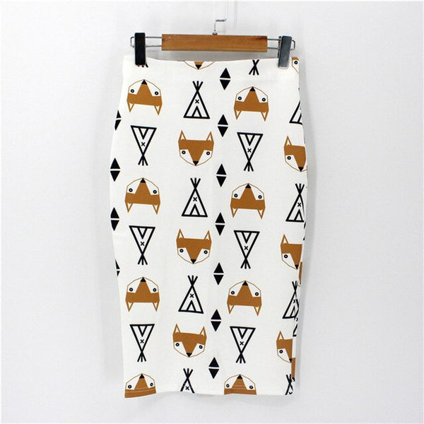 New party women's novelty national wind print female casual slim pencil skirt