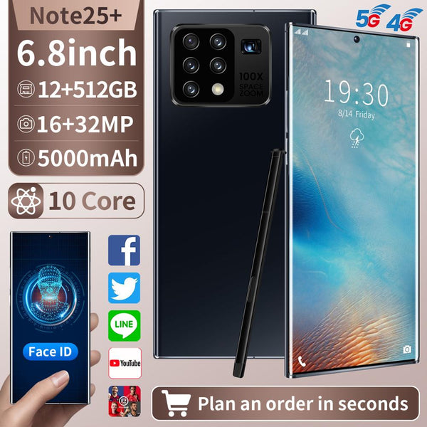 Note 25+ 6.8inch Full Display 10-Core 12GB +512GB Android Smartphones 2K Five Camera Universal 5G LET Mobile Phone with TouchPen
