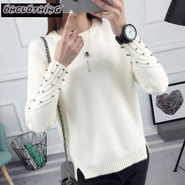 OHCLOTHING new spring Korean Short all-match winter sweater knitted shirt with long sleeves loose women sweater pullover
