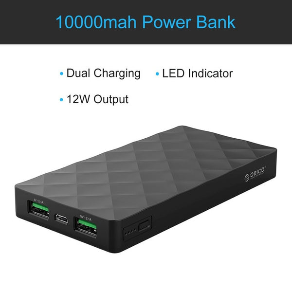 ORICO 10000mah Power Bank Dual USB Output Powerbank External Battery Pack Charger Adapter for iPhone Xiaomi Huawei Mobile Phone