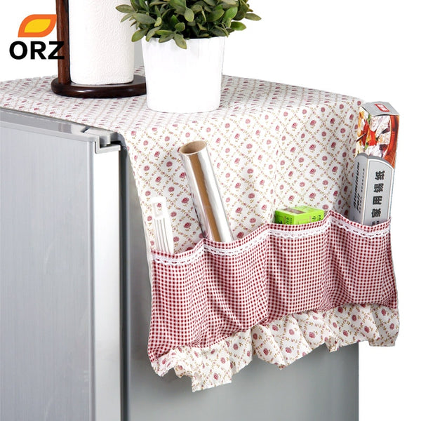 ORZ Practical Fridge Lattice Refrigerator Dust Proof Cover Muti-Functional Pouch Organizer Duster Cloth Kitchen Storage Holder