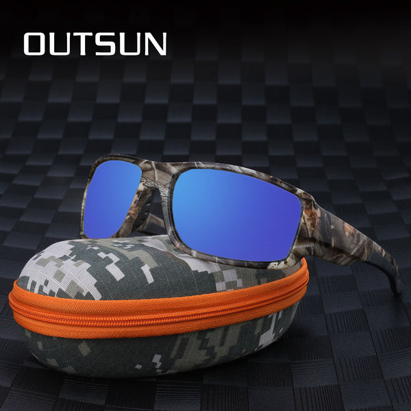 OUTSUN Camo Polarized Sunglasses Men Women Sport fishing Driving Sun glasses Brand Designer Camouflage Frame De Sol with Case