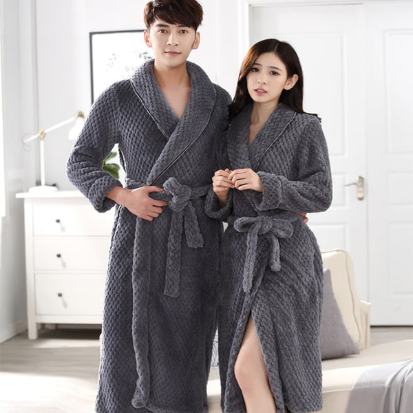 On Sale Lovers Thick Warm Winter Bathrobe Men Soft as Silk Extra Long Kimono Bath Robe Male Dressing Gown for Mens Flannel Robes