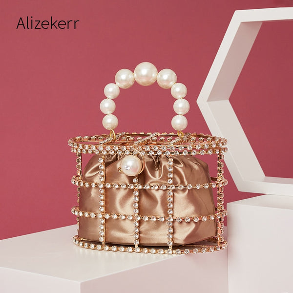 Pearl Basket Evening Clutch Bag Women Summer Hollow Out Diamonds Beading Alloy Metallic Handbag Female Fashion Party