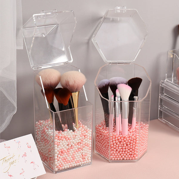 Pearl Clear Acrylic Cosmetic Organizer Makeup Brush Container Storage Box Holder Lipstick Storage Container Pencil Clear Box