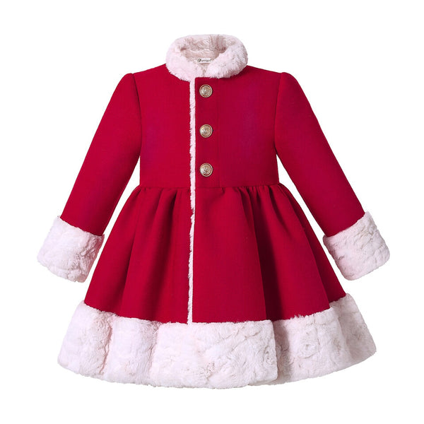 Pettigirl Red Girls Winter Coat Round Collar Single Breasted Girls Coat  Kids Outwear Clothing