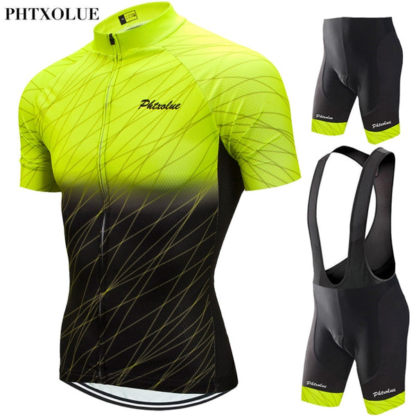 Phtxolue Cycling Set Men Cycling Clothing MTB Bike Clothes Breathable Anti-UV Road Bicycle Wear Cycling Jersey Set