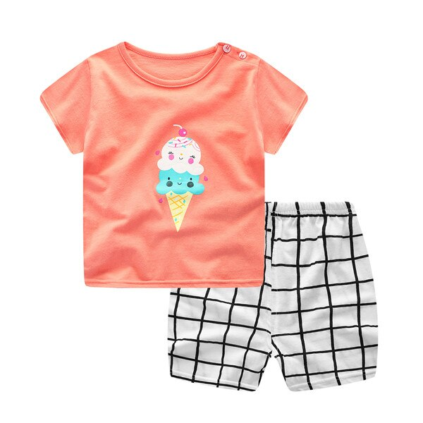 Plaid Baby Boy Clothes Summer  New Aircraft Baby Boy Girl Clothing Set Cotton Baby Clothes Suits Short Infant Kids Clothes