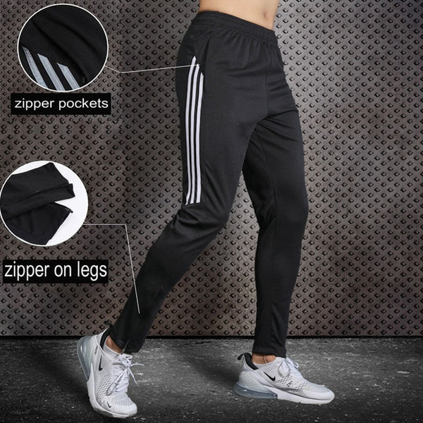 Plus Size Running Sport Pants For Men Joggings Sweatpants With Zipper Pockets Football Training Basketball Soccer Trousers Male