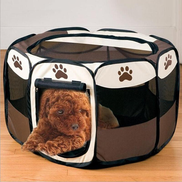 Portable Folding Pet Dog Tent House Cage Puppy Dogs Cat Outdoor Kennel Fence Pets Supplies PVC plastic mesh Octagonal Fence