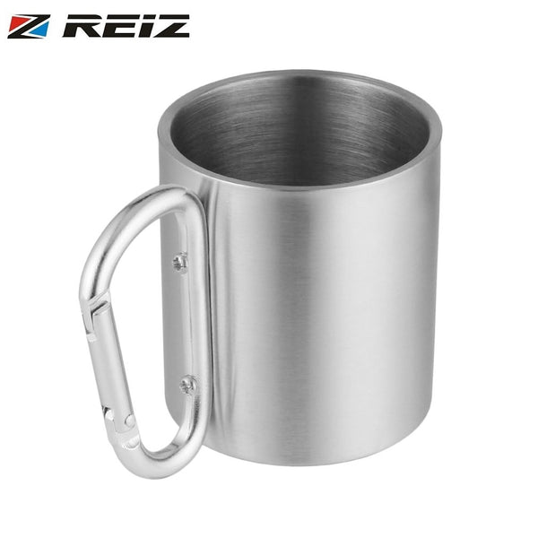 Portable Outdoor Hiking Camping Climbing Tools Self Lock Carabiner Handle Cup Stainless Steel Water Tea Coffee Mug Tool