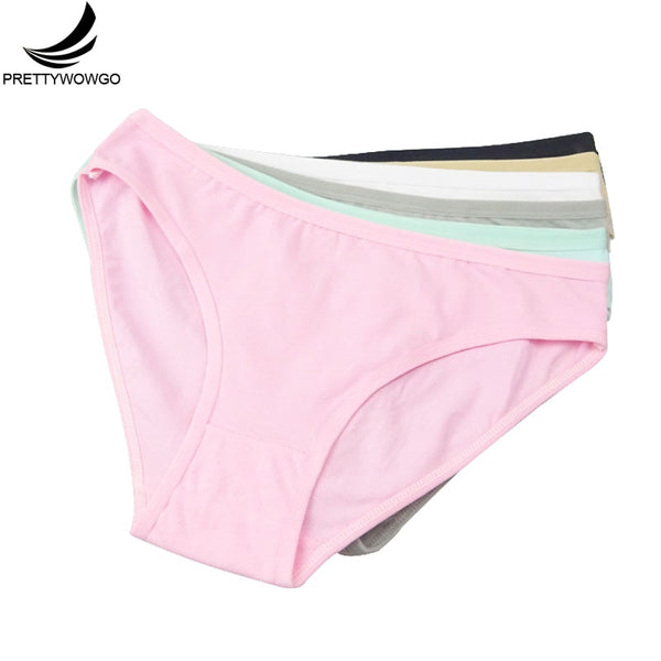 Prettywowgo 6 pcs/lot New Arrival 2019 Good Quality Women's Underwear Solid Color Cotton Cute Brief Panties 9173