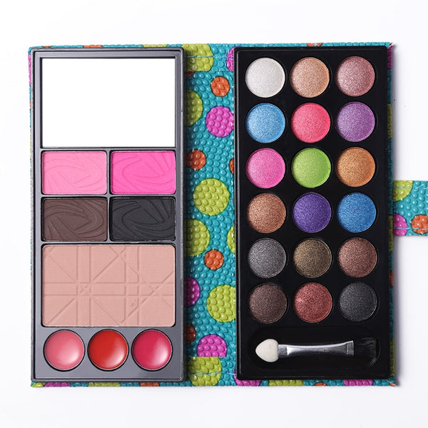 Professional Makeup Set Multi-function Matte Shimmer Eyeshadow Palette + Blusher + Lip Stick + Eyebrow Cake + Face Powder
