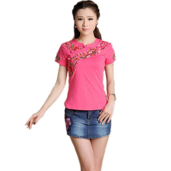 Quality 4XL Embroidery Women T-Shirts Vintage Slim Pullover T Shirt Clothing Cotton Blusas Feminina Summer Casual Body Tops Tee