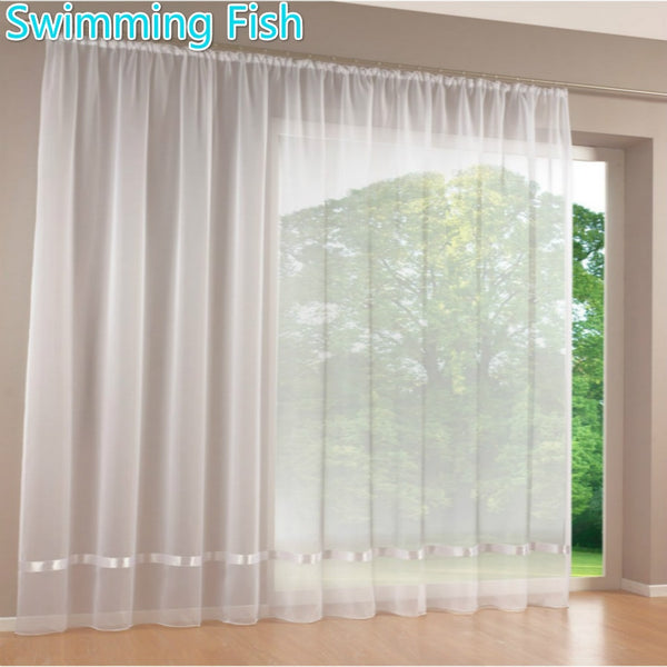 Quality white all-match sheer curtain window screens curtain tulle solid voile curtain with ribbon for room 295cm Height max