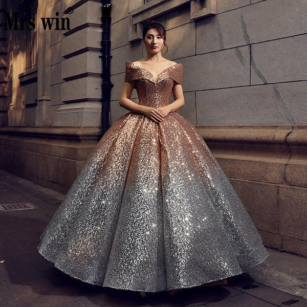 Quinceanera Dresses The Party Prom Formal Ball Gown Off The Shoulder Bling Bling Sequin 6 Colors Vintage Quinceanera Dress