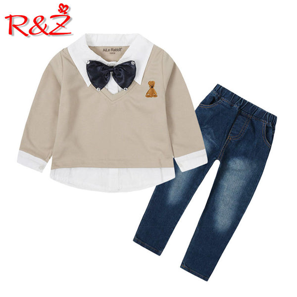 R&Z children's suit spring and autumn new boy fashion suit fake two-piece bow tie long-sleeved shirt jeans 2 sets