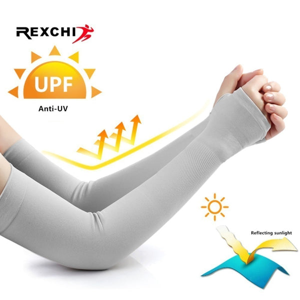 REXCHI Ice Fabric Cycling Sleeves for Arm Warmers Women Men UV Sun Protection Cover Running Driving Basketball Sports Sleeve
