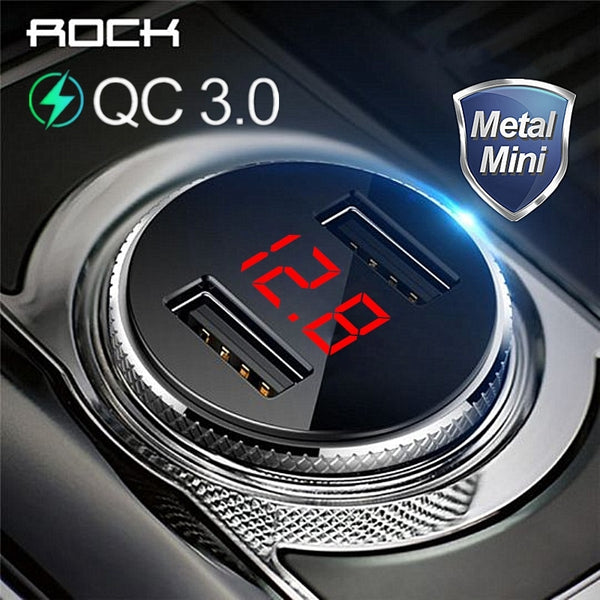 ROCK QC 3.0 Metal Dual USB Phone Car Charger Digital Display For iPhone Xiaomi Samsung Fast Charging Voltage Monitoring