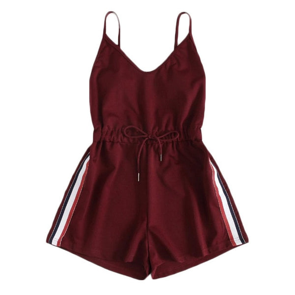 ROMWE Contrast Striped Tape Romper Summer Beach Wear Women Sleeveless Playsuits Burgundy Spaghetti Strap Drawstring Romper