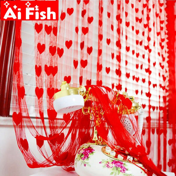 Ready Made String Curtains W1m *H2m Heart Shape Tulle Curtain For Living Room Door Partition Wall Vestibule Curtain AP240-40