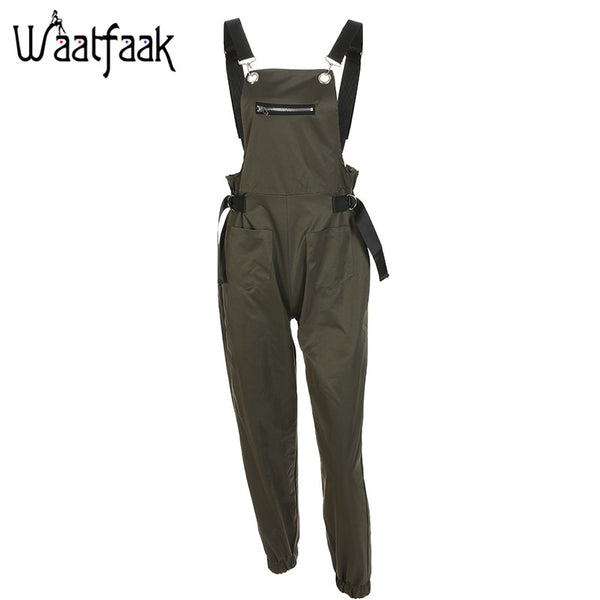 Khaki Rompers Womens Jumpsuit Long Elegant Zipper Pockets Sleevlesee Adjusted Strap High Waist Cotton Fashion Summer