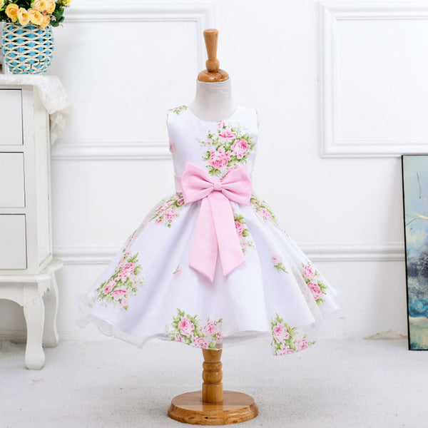 Retail New Style Summer Flower Baby Girl Dress Wedding Girls Kids Party Dress Bow Princess Elegant Dress 2-8 Years LM008