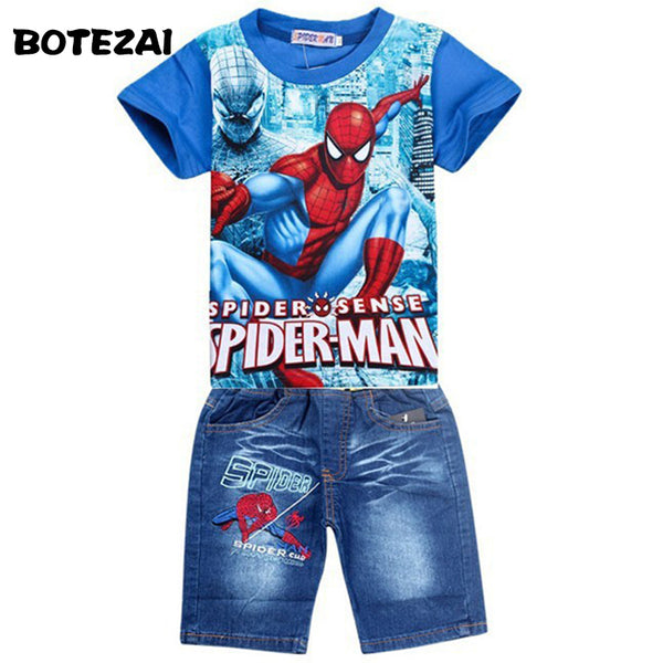 5fc722af3 Retail spiderman kids clothing sets,fashion cartoon children summer shirt jeans  shorts set, toddler