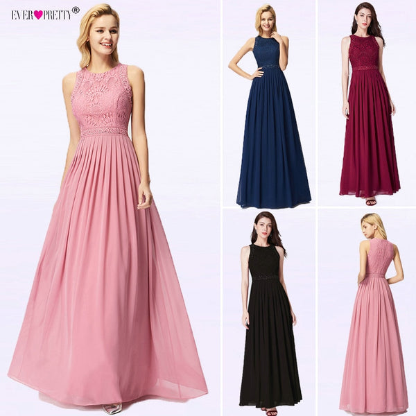 Robe Longue Dentelle Bridesmaid Dresses Ever Pretty New Arrival A-line Sleeveless Burgundy Women Wedding Guest Party Gowns