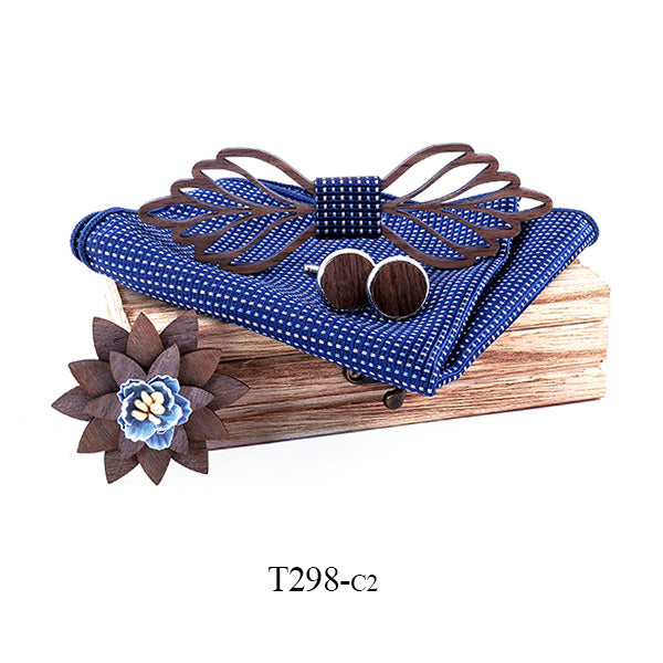 Romantic Hollow Wood Bow ties Bowtie with handkerchief Cufflinks For Men New Design Christmas gift set