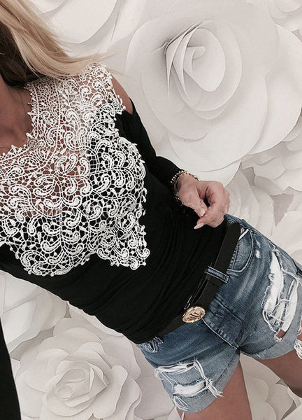 S-3XL Lace Splice Long Sleeve O-neck T-shirt Spring Summer Casual Women Shirt Hollow Out Sexy Shirt Off Shoulder Women Tops