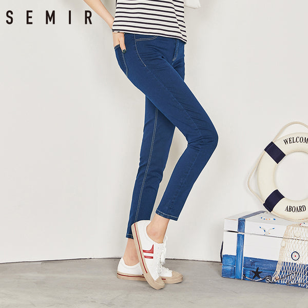 SEMIR new Jeans for women Vintage Slim Style Pencil Jean High Quality Denim Pants For 4 Season trousers teenager fashion