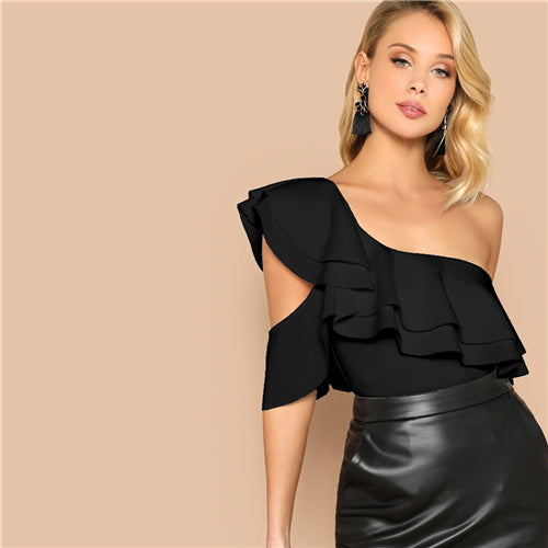 SHEIN Sexy Layered Ruffle One Shoulder Mid Waist Skinny Backless Bodysuit Women Summer Short Sleeve Solid Club Bodysuits