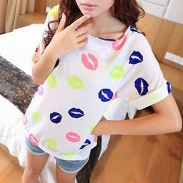 Women O-Neck Chiffon T shirt Short Sleeve Summer Casual Fashion Female T-shirt women Tops Plus Size XXL Tshirt