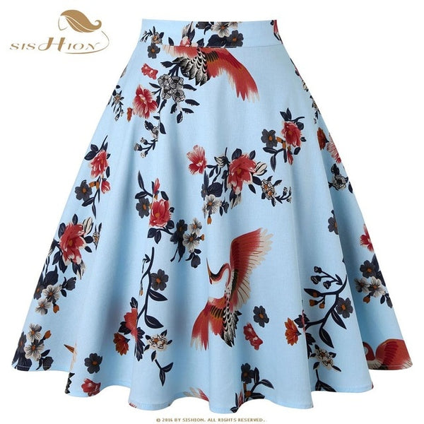 SISHION Cotton Black Skirt Womens Sexy Midi Summer Skirt Floral Polka Dots Black Red Blue Plus Size High Waist Plaid Women Skirt