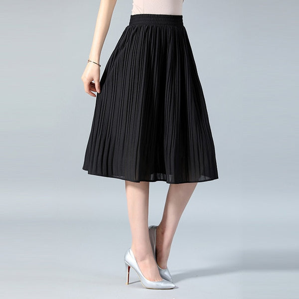 SNOW PINNACLE Women Chiffon Skirt Summer Thin Solid Pleated Skirts Womens Saias Midi Faldas Vintage Women Midi Skirt