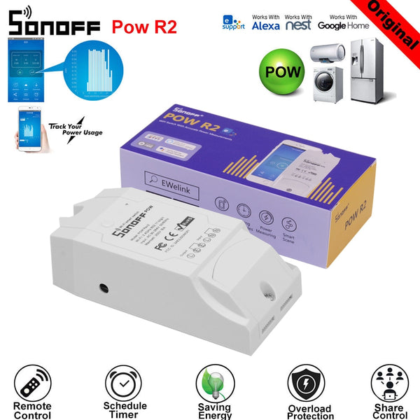 SONOFF POW R2 15A 3500W Wifi Switch Controller Real Time Power Consumption Monitor Measurement For Smart Home Automation