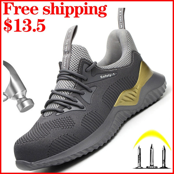Safety Work Shoes Boots For Men Steel Toe Cap Boots Anti-Smashing Protective Construction Safety Work Sneakers Work Safety Boots